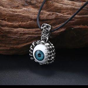 Blue Eye Skull Dragon Claw Necklace Gothic